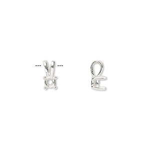 pendant, sure-set™, sterling silver, 4mm 4-prong round basket setting. sold individually.