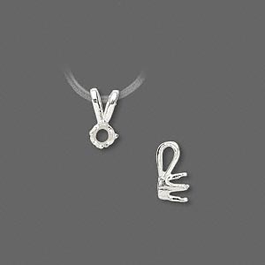 pendant, sure-set™, sterling silver, 4mm 4-prong round setting. sold individually.