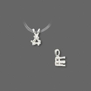 pendant, sure-set™, sterling silver, 4x4mm 6-prong triangle basket setting. sold individually.