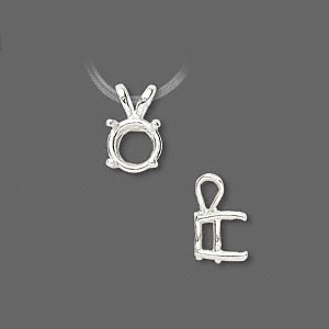 pendant, sure-set™, sterling silver, 8mm 4-prong round basket setting. sold individually.