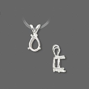 pendant, sure-set™, sterling silver, 9x6mm 4-prong pear basket setting. sold individually.