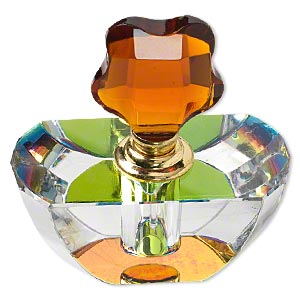 perfume bottle, glass and gold-finished pewter (zinc-based alloy), clear vitrail and brown, 3 x 2-3/4 x 1-1/2 inches. sold individually.