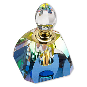 perfume bottle, glass and gold-finished pewter (zinc-based alloy), clear vitrail, 3 x 2-1/4 x 2-1/4 inches. sold individually.