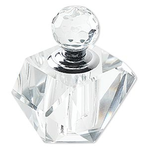 perfume bottle, glass and silver-finished pewter (zinc-based alloy), clear, 2-1/2 x 2 x 2 inches with dauber and threaded stopper. sold individually.
