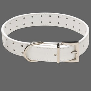 pet collar, leather and pewter (zinc-based alloy), white, 1-inch wide, adjustable from 13-1/2 to 17-1/2 inches. sold individually.