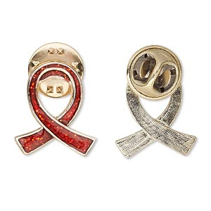 pin, gold-finished pewter (zinc-based alloy) / enamel / epoxy, transparent red with glitter, 20x17mm single-sided awareness ribbon. sold individually.
