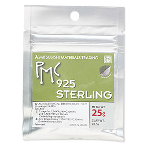 pmc sterling precious metal clay, high strength sterling silver. sold per 25-gram pkg.