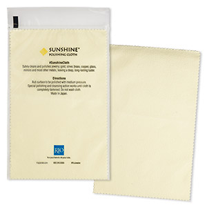 polishing cloth, sunshine, light yellow, 7-3/4 x 5-inch rectangle. sold individually.