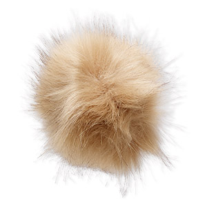 pom-pom, faux fur / nylon / polyester, lion mane and black, 5-inch round with elastic loop. sold individually.