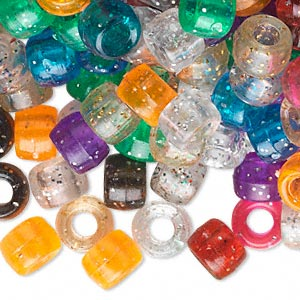 pony bead mix, acrylic, multicolored with glitter, 9x6mm with 4mm hole. sold per pkg of 500.