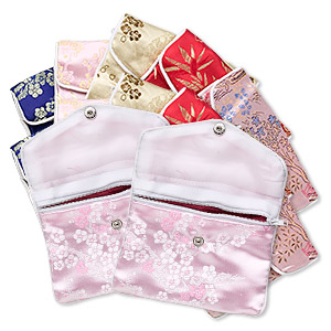 pouch, brocade, assorted floral, 4-3/4 x 4 inches.  pkg of 12.