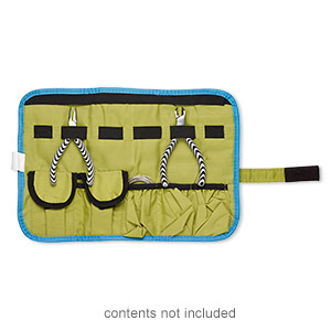 pouch, canvas / elastic / velcro, blue / green / black, 14x9-1/2 inches with hook and loop closure with wraparound strap. sold individually.