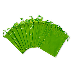 pouch, faux patent leather / nylon / cotton, green, 5x4 inches with drawstring. sold per pkg of 12.