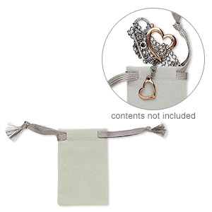 pouch, flocked velveteen, grey, 3x2 inches with drawstring. sold per pkg of 12.
