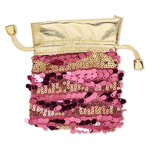 pouch, nylon / plastic sequins / gold-coated plastic, gold and pink, 4-3/4 x 3-3/4 inches with drawstring. sold individually.