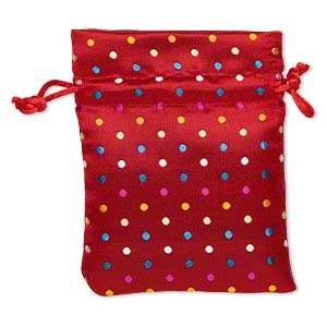 pouch, nylon, red and multicolored, 4-3/4 x 3-3/4 inches with polka dot design, drawstring closure. sold individually.