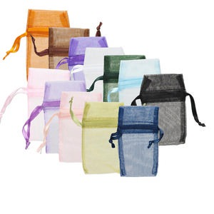 pouch, organza, assorted colors, 3 x 1-3/4 inches with drawstring. sold per pkg of 12.