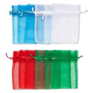 pouch, organza, assorted colors, 4-1/2 x 3 inches with drawstring closure. sold per pkg of 12.