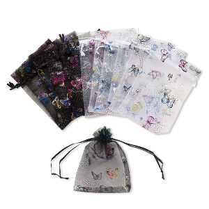 pouch, organza, black / white / multicolored, 5-1/2 x 4 inches with butterfly pattern and drawstring. sold per pkg of 12.