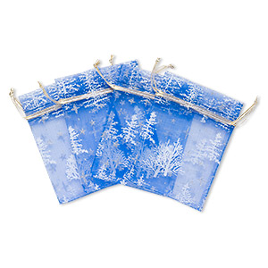 pouch, organza, multicolored with glitter, 4-3/4 x 3-1/2 inches with christmas tree pattern and drawstring closure. sold per pkg of 4.