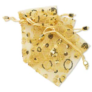 pouch, polyester / satin / plastic sequins / plastic, gold, 4-3/4 x 3-3/4 inches with drawstring. sold per pkg of 3.