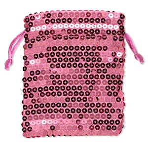 pouch, satin and plastic sequins, pink, 4-3/4 x 3-3/4 inches with drawstring. sold per pkg of 3.