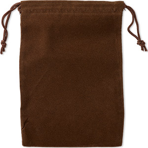 pouch, velveteen and cotton, brown, 5-1/2 x 4-inch rectangle with drawstring closure. sold per pkg of 25.