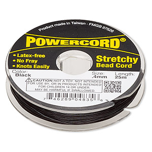 powercord, elastic, black, 0.4mm, 3.5-pound test. sold per 25-meter spool.