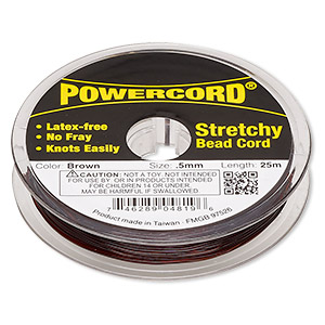 powercord, elastic, brown, 0.5mm, 4-pound test. sold per 25-meter spool.