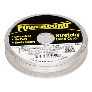 powercord, elastic, clear, 0.5mm, 4-pound test. sold per 25-meter spool.