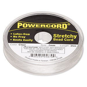 powercord, elastic, clear, 0.7mm, 7-pound test. sold per 25-meter spool.