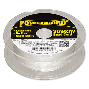 powercord, elastic, clear, 1mm, 14-pound test. sold per 25-meter spool.