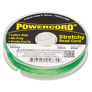 powercord, elastic, green, 0.4mm, 3.5-pound test. sold per 25-meter spool.