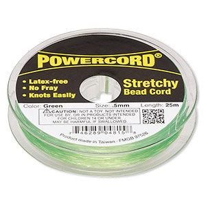 powercord, elastic, green, 0.5mm, 4-pound test. sold per 25-meter spool.