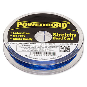 powercord, elastic, medium blue, 0.5mm, 4-pound test. sold per 25-meter spool.
