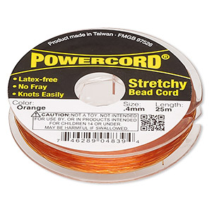 powercord, elastic, orange, 0.4mm, 3.5-pound test. sold per 25-meter spool.