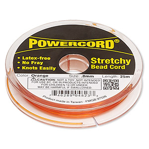 powercord, elastic, orange, 0.8mm, 8.5-pound test. sold per 25-meter spool.