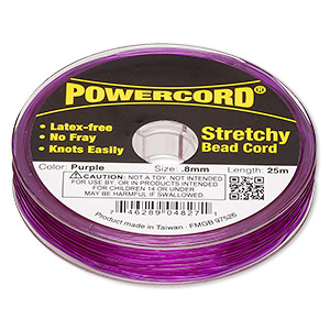 powercord, elastic, purple, 0.8mm, 8.5-pound test. sold per 25-meter spool.
