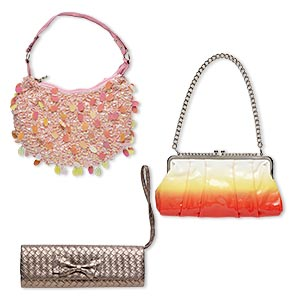 purse mix, nylon / imitation leather / plastic sequin / chinese crystal / steel / seed bead / acrylic, mixed colors, 8x6 to 12x11 inches with 11 to 48-inch shoulder strap and clutch. sold per pkg of 3.