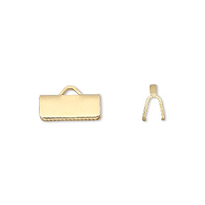 ribbon crimp end, gold-plated brass, 13x5mm smooth rectangle. sold per pkg of 10.