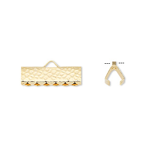 ribbon crimp end, gold-plated brass, 16x5mm hammered rectangle. sold per pkg of 100.