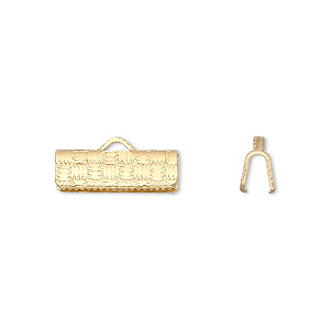 ribbon crimp end, gold-plated brass, 16x6mm textured rectangle. sold per pkg of 10.