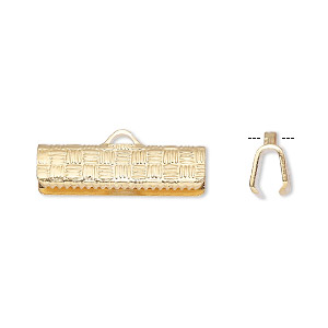ribbon crimp end, gold-plated brass, 19x6mm textured rectangle. sold per pkg of 10.