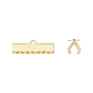 ribbon crimp end, gold-plated brass, 20x5mm hammered rectangle. sold per pkg of 100.