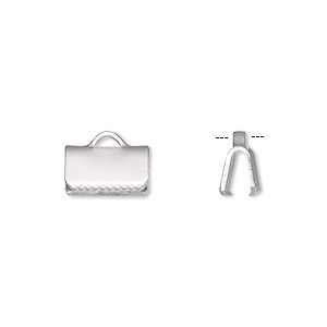 ribbon crimp end, silver-plated brass, 10x5mm smooth rectangle. sold per pkg of 10.
