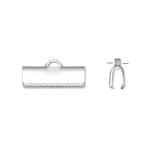 ribbon crimp end, silver-plated brass, 16x5mm smooth rectangle. sold per pkg of 10.
