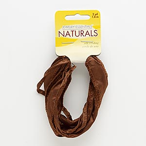 ribbon, silk, brown, 1/5 inch and 4/5 inch wide. sold per pkg of (2) 1-yard sections.