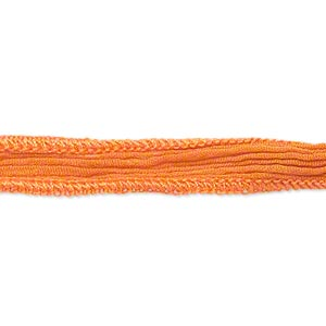 ribbon, silk, orange, 1/2 inch crinkled. sold per pkg of 34 inches.
