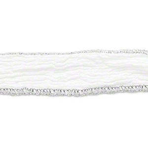 ribbon, silk, white and metallic silver, 1/2 inch crinkled with tapered ends. sold per pkg of 34 inches.
