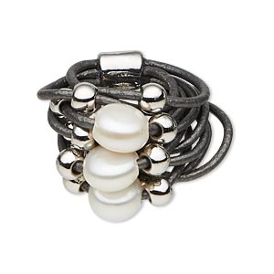 ring, 11-strand, leather (dyed) / silver-coated plastic / cultured freshwater pearl (bleached) / silver-finished pewter (zinc-based alloy), grey and white, 26mm wide, size 8. sold individually.
